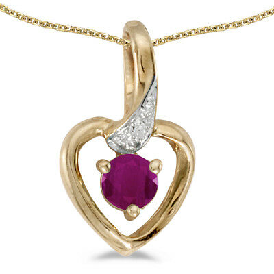 """10k Yellow Gold Round Ruby And Diamond Heart Pendant with 16"""" Chain"""