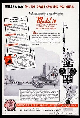 1952 WRRS Western Railroad Supply Model 10 crossing gate photo vintage print ad