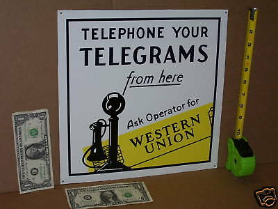 Telephone / Telegrams WESTERN UNION Sign ---- Shows a Real Old CANDLESTICK PHONE