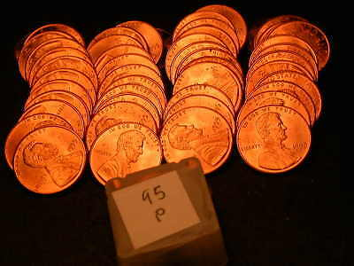 Full 50pc Roll 1995 P Ch/Gem Lincoln Cents  BU Cherry RED Coins!!!!