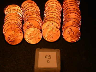 Full 50pc Roll 1995 D Ch/Gem Lincoln Cents  BU Cherry RED Coins!!!!