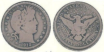 1912 Silver Barber Half Dollar (50¢ Coin) in Very Good Condition ~
