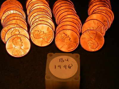 Full 50pc Roll 1998 P Ch/Gem Lincoln Cents  BU Cherry RED Coins!!!!