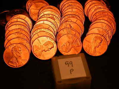 Full 50pc Roll 1999 P Ch/Gem Lincoln Cents  BU Cherry RED Coins!!!!