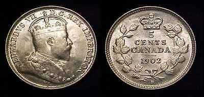 CANADA 1902 H Small H Silver Five Cents