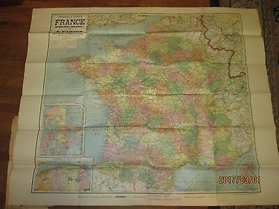 Original WWI era Wall Map of France Shows Occupied Germany 41 x 34 inches
