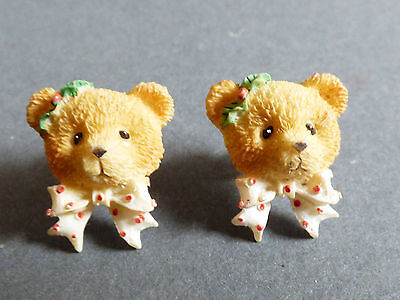 Christmas Holiday gold tone metal Teddy Bear design stud earrings