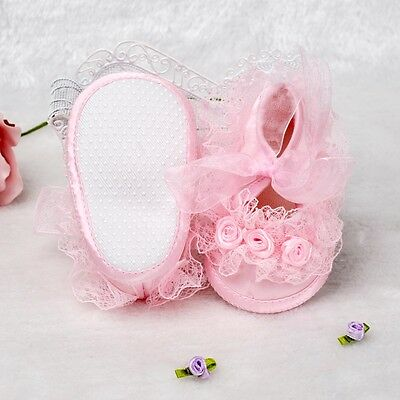 New Baby Girls Pink Satin Lace Shoes Newborn