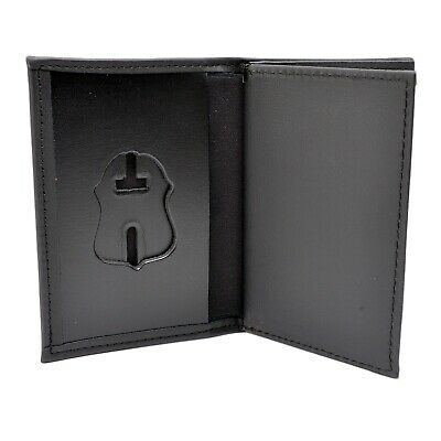Perfect Fit FBI Agent Badge Case Leather Double ID Wallet Federal Police Agency