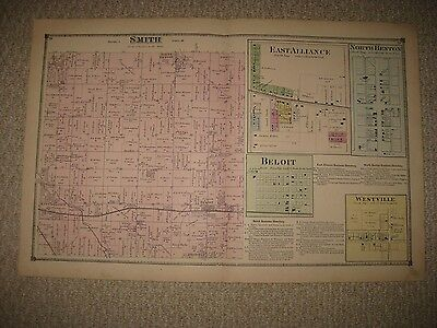 Antique Smith Township Alliance Beloit North Benton Mahoning County Ohio Map Nr