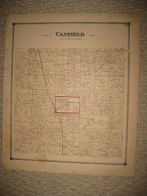 Antique 1874 Canfield Township Mahoning County Ohio Handcolored Map Detailed Nr