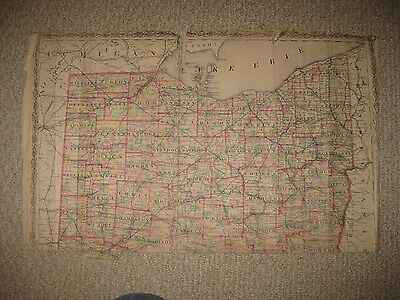 Large Antique 1874 North Northern Ohio Map Cuyahoga Lake Lorain Geauga County