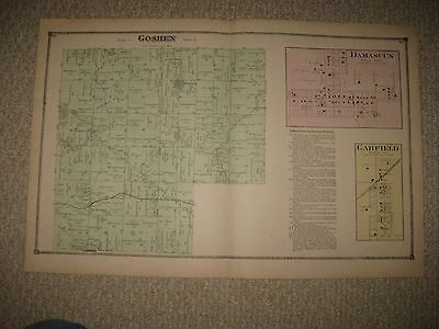 Rare Antique Goshen Township Damascus Garfield Patmos Mahoning County Ohio Map N