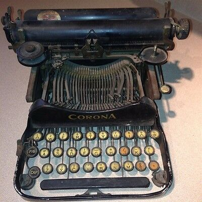 Vintage Corona Typewriter Folding Foldable Steampunk Early 1900's Made in USA