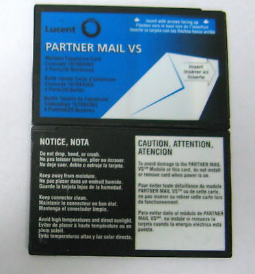 Avaya AT&T Lucent Partner Mail VS R4 4-Port 20-Mailbox Expansion Card 107884363
