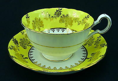 Royal Grafton Cup and Saucer England Yellow Band Gold Flowers Scalloped Trim
