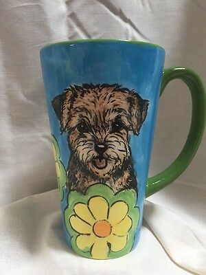 Border terrier Latte Cup Hand Painted Kiln Fired By Darci