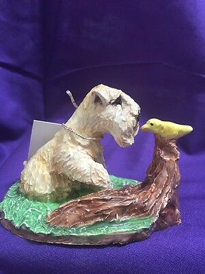 soft coated wheaten terrier Hand Sculpted Painted Kiln Fired Yellow Bird  Darci