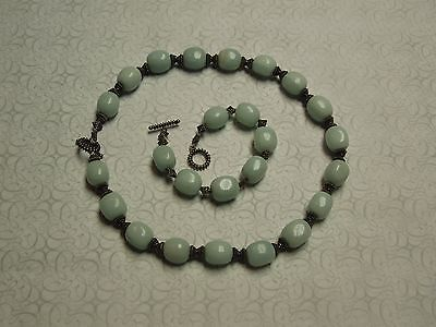 Vintage Persian 2pc Sterling Silver Natural Turquoise Agate Necklace Set