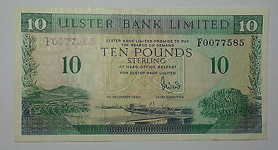 Ireland:  Ulster Bank  Ten Pound Sterling Banknote  . 1990.