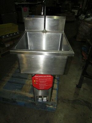 Stainless Hand Sink Basin w/ Foot Pedal Hands Free Faucet