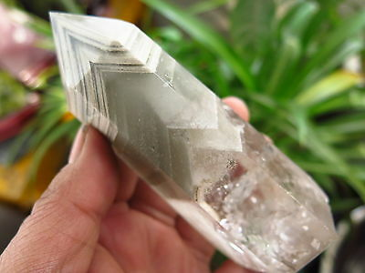 363g NATURAL RARE ghost phantom pyramid QUARTZ CRYSTAL POINT HEALING @J21