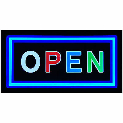 """Bright 19x10"""" Illuminated Backlit OPEN Business LED Light Sign Display Neon"""