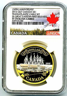 2016 Canada 1Oz Silver 150Th Transatlantic Cable Ngc Pf70 Gilt First Releases