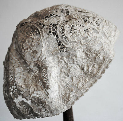 Antique Infant Cap Victorian Needle Lace With  Brussels Mixed Lace