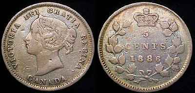 CANADA 1886 Large 6 Silver Five Cents F
