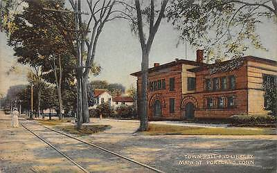 PORTLAND, CT ~TOWN HALL, LIBRARY & MAIN ST., A. SCHMELZER CO. PUB ~ used c.1910s