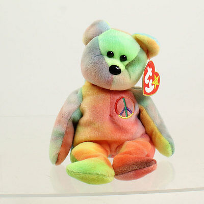 TY Beanie Baby - PEACE the Ty-Dyed Bear (Yellow/Pink) (8.5 inch) MINT