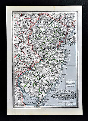 c 1883 Geo Cram Map New Jersey Trenton Philadelphia York Princeton Newark City