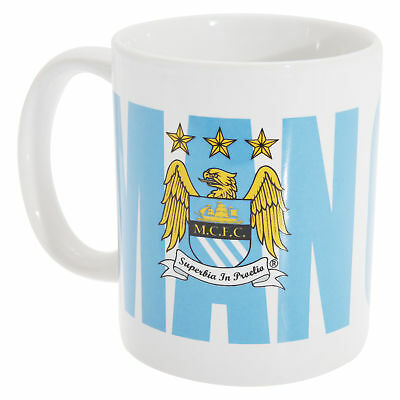 Manchester City FC Official Ceramic Football Crest Text Design Mug