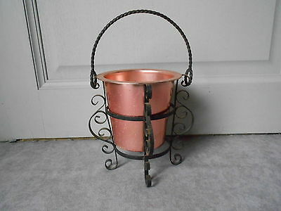 Vintage French COPPER PLANTER Jardiniere w/ scrolled Rack