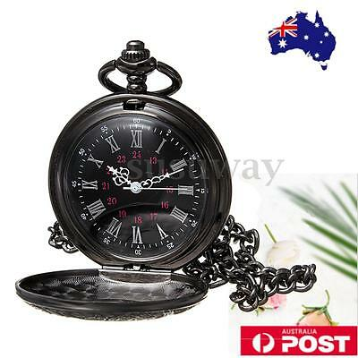 Classic Vintage Antique Steampunk Quartz Necklace Pendant Pocket Watch Black AU