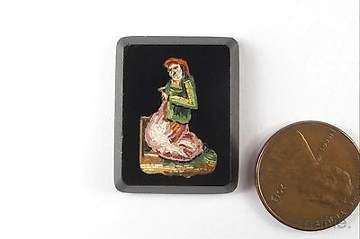 ANTIQUE HAND CRAFTED MICRO MOSAIC PANEL of ITALIAN PEASANT WOMAN c1880