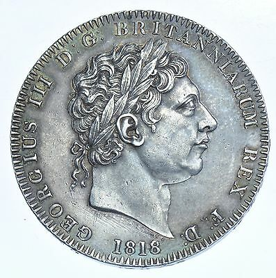 Rare 1818 Lix Crown; British Silver Coin From George Iii Ef