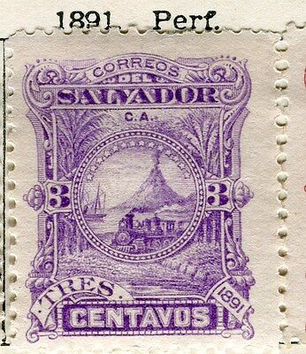 EL SALVADOR;  1891 early classic issue Mint hinged 3c. value