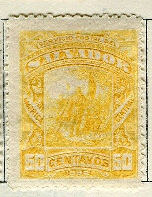 EL SALVADOR;  1892 early classic issue Mint hinged 50c. value