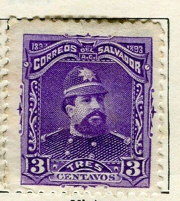 EL SALVADOR;  1893 early classic issue Mint hinged 3c. value