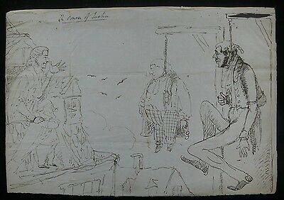 c.1842 London Police Court Barristers Hanging - Original Pen & Ink Caricature