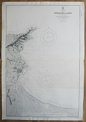 1892 Algeria Approaches To Bona Annaba Old Vintage Admiralty Chart Map