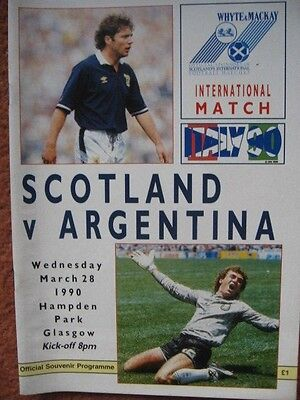 SCOTLAND v ARGENTINA 28th March 1990 @Hampden
