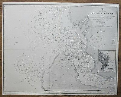 1887 Africa River Gambia Entrance Vintage Admiralty Chart Map Surveyed Hms Leven