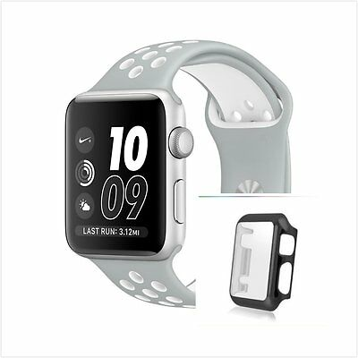 White Grey New Silicone Strap Band For Apple Watch 38mm Black Protect Case