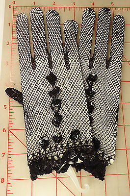 Beautiful High Qality Black Stretch Fishnet Gloves With Sequins and Beads