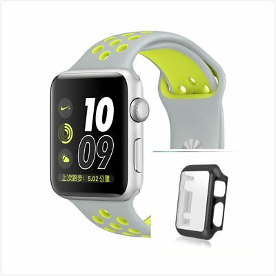 Grey Yellow New Silicone Strap Band For Apple Watch  38mm Black Protect Case
