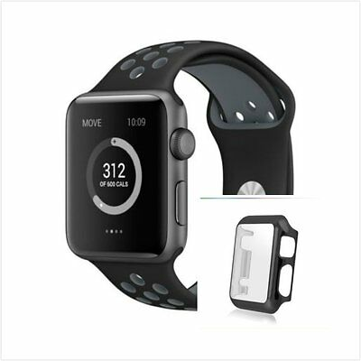 Black Grey New Silicone Strap Band For Apple Watch 38mm Black Protect Case