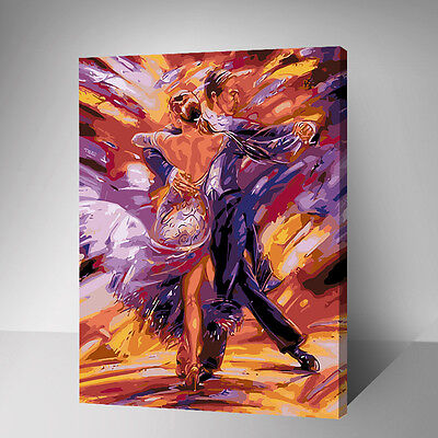 Framed Painting by Number kit Tango Dancers Dancing Lovers Couple Sports YZ7450